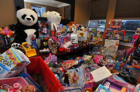 Toys collected at Century 21 Redwood Realty